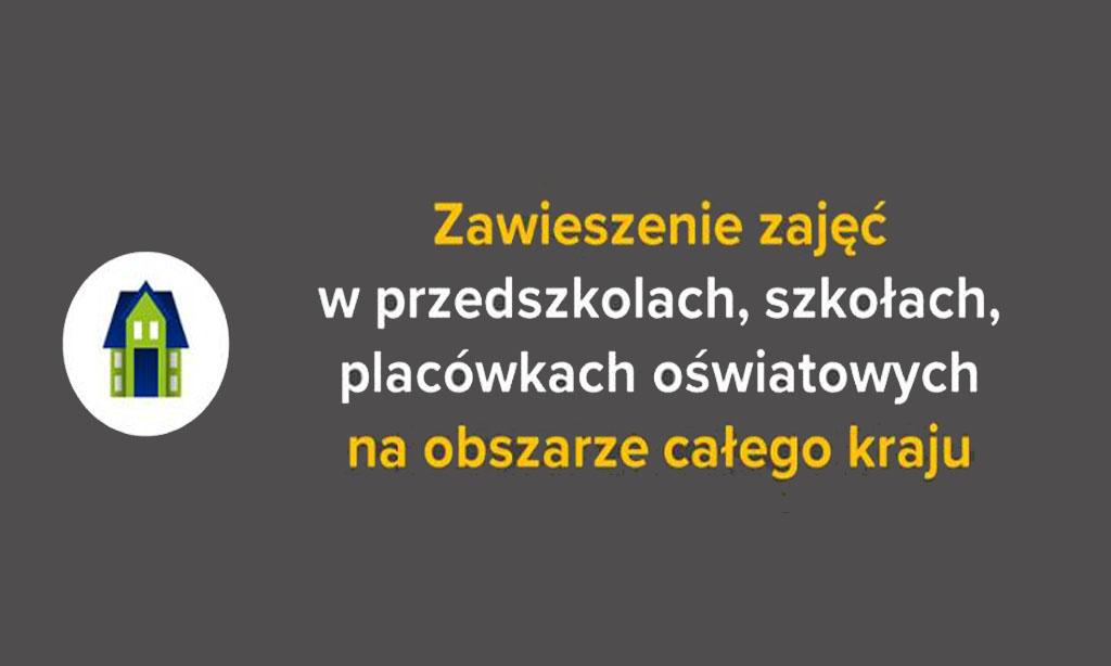 Grafika z napisem zawieszenie zajęć dydaktyczno-wychowawczych w przedszkolach, szkołach i placówkach oświatowych
